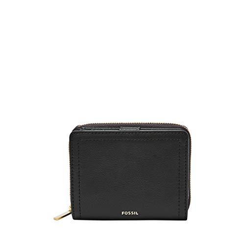Fossil Women's Logan Leather RFID Mini Multifunction Wallet, Black