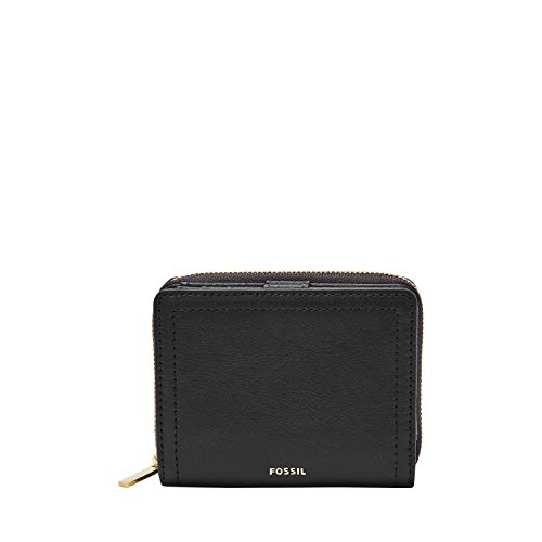 Fossil Women's Logan Leather RFID Mini Multifunction Wallet, Black