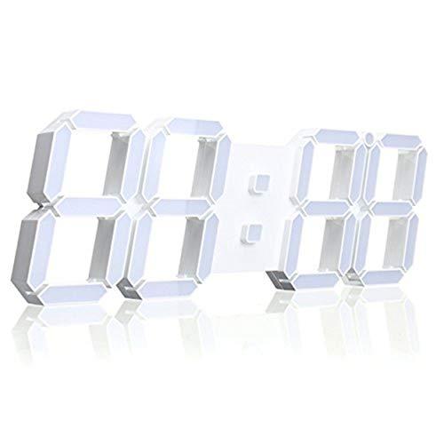 EsportsMJJ Grote moderne digitale LED skelet wandklok met datumweergave 24/12 uur temperatuurweergave afstandsbediening