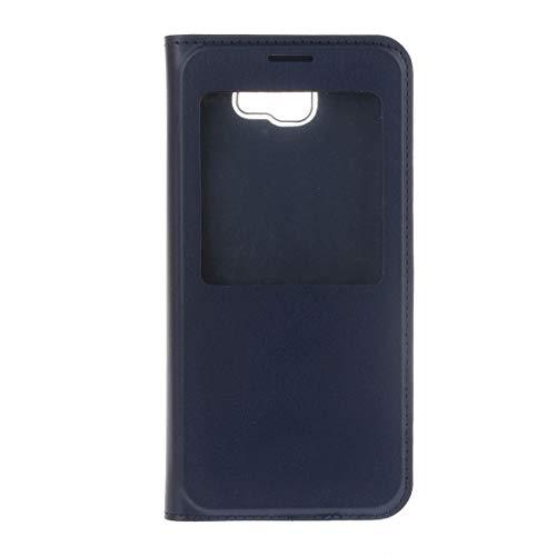 PROUNON Pronunciado -para el Caso de Cuero Galaxy J7 elección Litchi Textura Horizontal Tack con la Pantalla de Llamadas ID (Negro) Cuero (Color : Dark Blue)