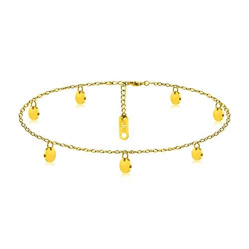 Kim Johanson Edelstahl Damen Fußkettchen *Coins* in Silber, Gold & Roségold | Fußkette mit 7 runden Plättchen | Boho Schmuck | Verstellbar inkl. Schmuckbeutel (Gold)