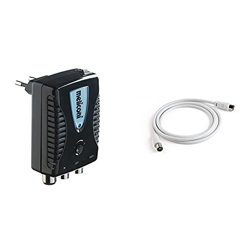 Meliconi Amp20, Amplificatore Di Antenna Digitale Da Interni Con Filtro Lte + Cavo Per Antenna Da 2 M, Bianco