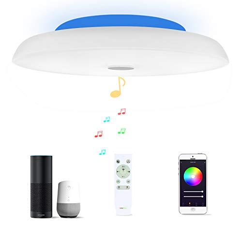 48W Φ50cm Plafón Led Compatible Con Amazon Alexa Google Assistant WIFI Lampara Techo Led Musica Con Bluetooth Altavoz y Mando y Regulable Cambia De Color Para Dormitorio Cocina Cuarto De Baño