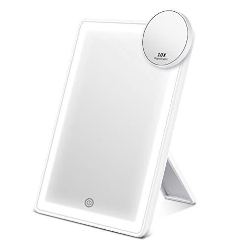 AEVO LED Kosmetikspiegel mit abnehmbarem 10-fachen Vergrößerungsspiegel - Make-Up Spiegel mit 60-LED Halo/Ringlicht, Dreifarbiges Licht, Stufenloses Dimmen und duale Ladeoptionen