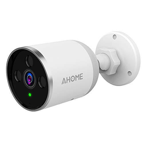 AHOME A1 Outdoor Security Camera with Motion Detection, HD 1080P Night Vision, 2-Way Audio, Deterrent Alarm, IP66 Waterproof, 2.4G WiFi/Ethernet, Cloud Storage/SD Card Slot, Power Adapter - White