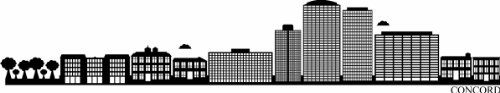 Indigos UG – Sticker mural autocollant – Sticker mural – f1285 Skyline Ville – Concord (États-Unis – United States) Design 2–80 x 15 cm – Noir – Décor