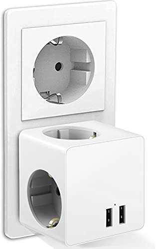 Enchufe USB, ORSIFOW 5 en 1 Cubo Ladron Enchufes Triple con 3 Puertos USB(2.4A), Cubo Enchufe Multiple Pared con Interruptor, Cargador USB Compatible con Phone, Pad, Ladron USB para Hogar Oficina