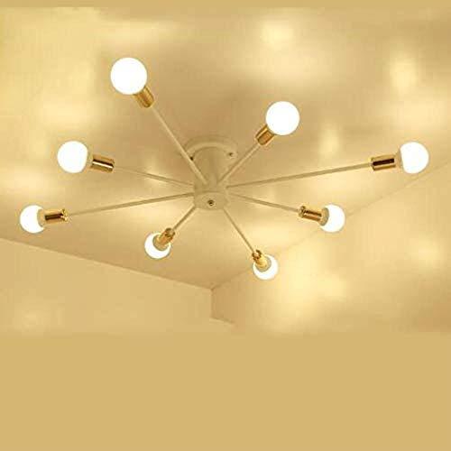 Ingebouwde verlichting Kroonluchters, Iron Kroonluchter Industrial Wind Glazen Plafond Kroonluchter Creative Geometric Woonkamer Slaapkamer Lamp 8 White Gold Multiple Chandelier