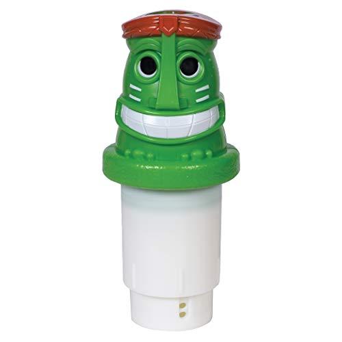 "GAME Solar Light-Up Tiki Pool Chlorinator; 3""-Tablet Chlorine Dispenser; LED Lights; Light Sensor; Expandable Basket; Adjustable Flow Rate; Duck, Tiki, Globe, Pineapple, and Volcano"