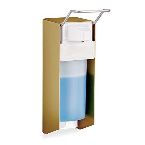 Relaxdays Eurospender, 500 ml, Desinfektionsmittel, Seife, Ellenbogen-Hebel, Wandbefestigung, Hygienespender, gold
