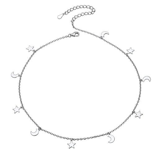ChicSilver Estrella y Luna Dijes Pequeños Choker Básico Elegante Plata de Ley 925 Chapado en Oro Blanco Joyería Minimalista para Femeninas Bellas