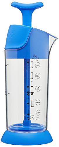 Pressca Milchaufschäumer, manuell, klein und tragbar, mikrowellengeeignet, 200 ml (blau)