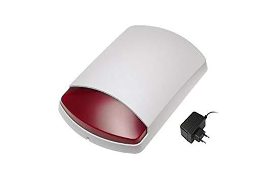 LUPUSEC Außensirene V2, IP54, 110dB sorgen für Aufmerksamkeit in der Nachbarschaft, mit Blitzlicht, über Zentrale einstellbar, Batterie- oder Netzteilbetrieb, 12033