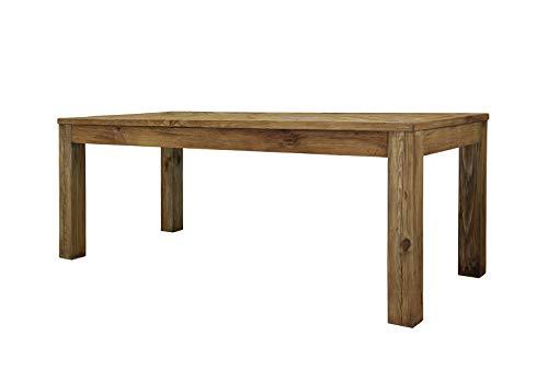 Meubletmoi Table de Repas rectangulaire 200 cm en pin recyclé - Style Esprit Montagne Rustique - Collection Chalet