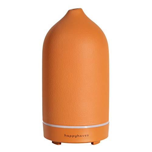 Aroma Diffuser aus hochwertiger Keramik: Leiser Ultraschall Luftbefeuchter für ätherische Öle - Aromatherapie Duftlampe mit LED Licht als Lufterfrischer für Wohnung – Duft Diffusor HAPPYHAVES