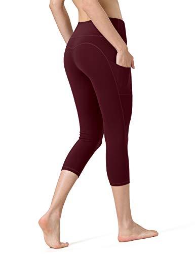 ALONG FIT Leggings Damen mit Taschen, Nicht durchsichtig Sporthose Damen Dehnbar Yogahosen für Damen, 3/4 Capri Burgunderrot, M