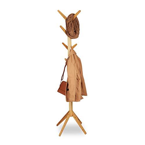 Relaxdays Appendiabiti in Bambù, 8 Ganci, Design Moderno ad Albero, HxBxT: 179 x 40,5 x 40,5 cm, Color Legno Naturale
