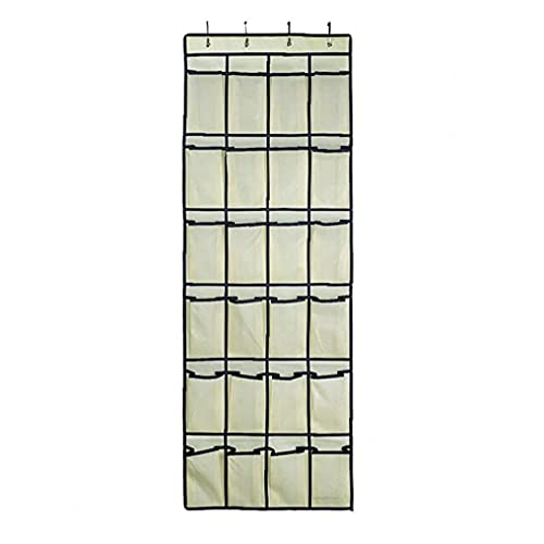 Obelunrp Caja de Almacenamiento Colgante Organizador Colgante sobre la Puerta Soporte de la Zapata Montaje de Pared 24 Bolsillos de Malla Percha de Almacenamiento Sundies Bag Beige