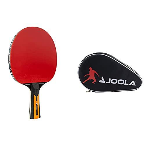 JOOLA Tischtennisschläger CARBON CONTROL - ITTF zugelassener Tischtennis & Tischtennisschläger Hülle Pocket Double Tischtennishülle für 2 Wasserabweisende Tischtennistasche,Schwarz/Rot, 28 x 17 x 4 CM