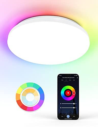 WiFi Lámpara Led Techo 24W, Maxcio WiFi Plafon Led Techo Control de App y Alexa/Google Home, con Luz Regulable RGBCCT 2700-6500k, IP54 Plafones Led Cocina Redonda para Habitaciones, Cocina, 35CM