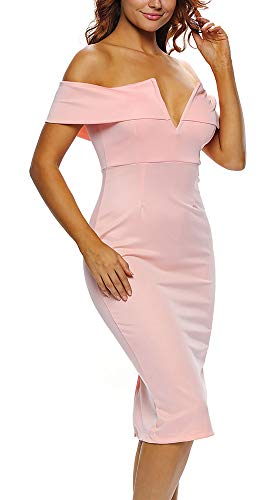 Uhnice Women's Off The Shoulder Bodycon Party Club Cocktail Evening Dress (Small, Pink)