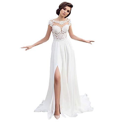 Vestido de fiesta de gasa sin mangas de encaje para novia,...