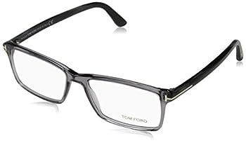 TOM FORD Men s TF 5408 Rectangular Eyeglasses 56mm Transp Grey Grey Horn Effect Temples Shiny Pall 56/16/145