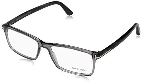 TOM FORD Men's TF 5408 Rectangular Eyeglasses 56mm, Transp. Grey, Grey Horn Effect Temples, Shiny Pall, 56/16/145