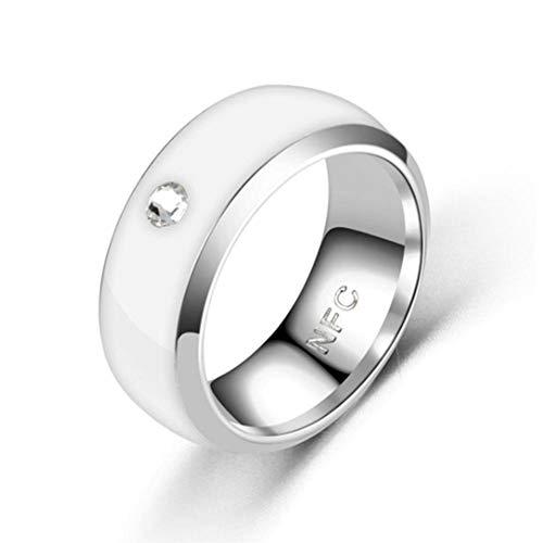 CALISTOUS Smart Ring Multifunktional Wasserdicht Intelligente Diamant Technologie Finger Smart Wear Finger Digital Ring für NFC Handy Weiß 6