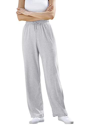 Woman Within Women's Plus Size Petite Sport Knit Straight Leg Pant - L, Heather Grey