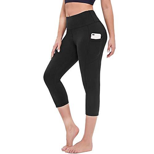 Normallack Hohe Taille Leggings Damen Caprihose Yogahose mit Handytasche Yoga Hosen Anti-Cellulite Fitnesshose fur Anti-Cellulite und Täglichen Gebrauch