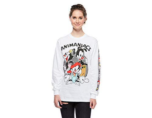 Ripple Junction Animaniacs Adult Unisex Checkered Board Group Heavy Weight 100% Cotton Long Sleeve Crew T-Shirt XL White