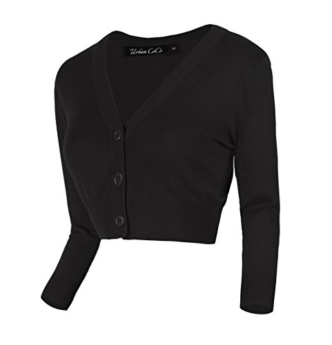 Urban CoCo Women's Cropped Cardigan V-Neck Button Down Knitted Sweater 3/4 Sleeve (S, Black)