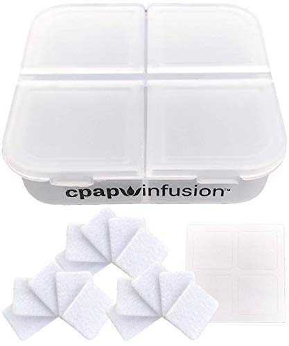 CPAP Infusion Adapter Replacement Refill Pads for Essential Oils - Includes A Storage Container for Up to 20 Refill Pads, 4 Blank Labels and Microfiber Absorbent Replacement Oil Pads (15 Refill Pads)