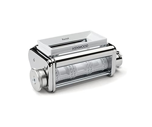 Kenwood Ravioli KAX93.A0ME - Accessorio per robot da cucina con imbuto, cucchiaio e spazzola per la pulizia, corpo in acciaio INOX cromato