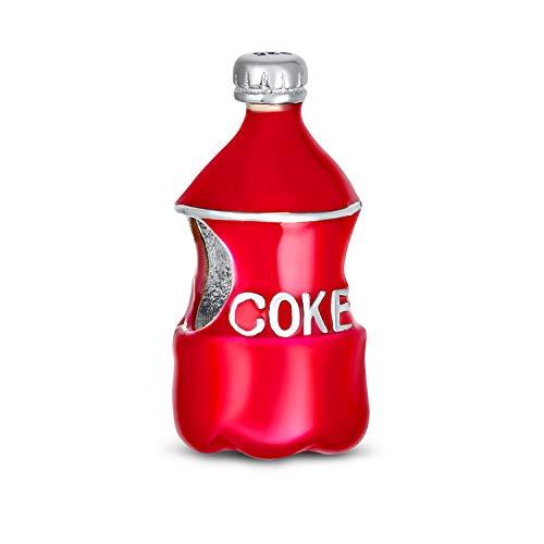 Soda Lover Red Enamel Drink Coke Bouteille Charm Bead pour Femmes Teen .925 Sterling Silver Fits European Charm Bracelet