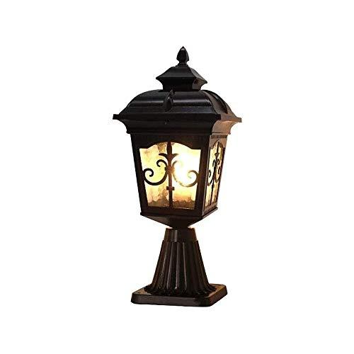 ZZYJYALG Luces de pilares al Aire Libre, lámpara de Postes Vintage en Acabado Negro Mate con Sombra de Cristal de Martillo, Aluminio Aluminio a Prueba de Herrumbre for Puerta Principal, jardín