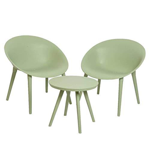 L'Héritier Du Temps Salon de Jardin Moderne Salon de Thé 2 Places Personnes Contemporain Table Bistrot et 2 Chaises en PVC Vert