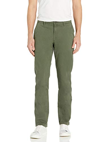 Amazon Brand - Goodthreads Men's Slim-Fit Washed Stretch Chino Pant, Olive, 34W x 33L