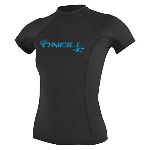 ONEILL WETSUITS O'Neill - Camiseta de Neopreno para Mujer con protección UV, Manga Corta, Cuello Redondo Negro Negro Talla:Large