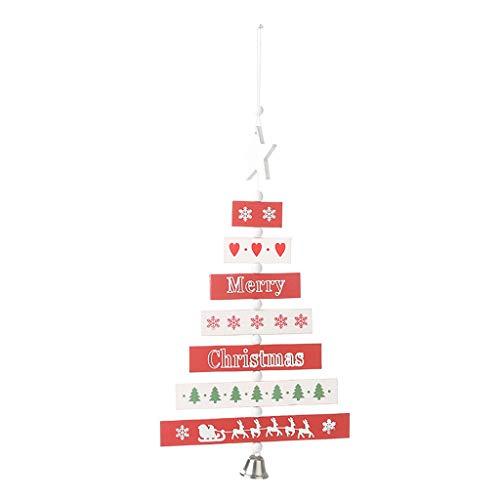 Yue668 - Colgante de madera de Navidad, 2019 Merry Christmas Home Decorations rbol de Navidad Widget rbol de fiesta colgante (rojo)
