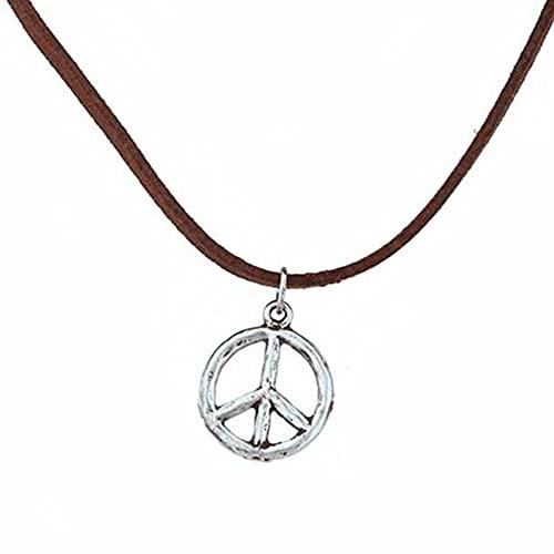 Kkoqmw Gargantilla con el Signo de la Paz Collar Hippie Gargantilla Hippie Collar con el Signo de la Paz Gargantilla de Gamuza marrón Boho