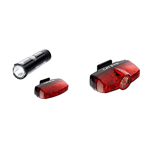 CatEye CA490V100MIC Volt 100 XC/Rapid Micro Set Lights and Reflectors, Cycling - Red/Black & CA475RAPMIN Rapid Mini Rear Lights and Reflectors, Cycling ,Black
