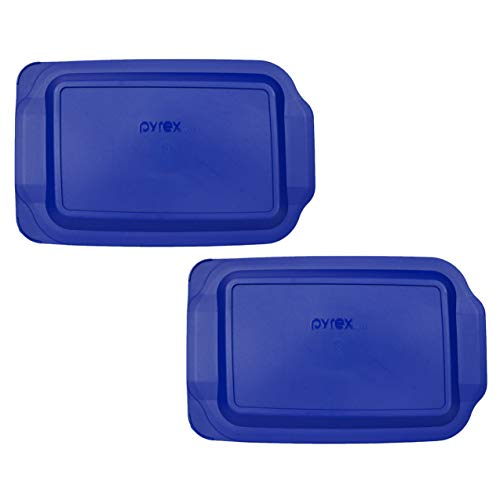 (2) Pyrex 233-PC 3 Quart Blue 9' x 13' Baking Dish Lids - Will NOT Fit Easy Grab Baking Dish