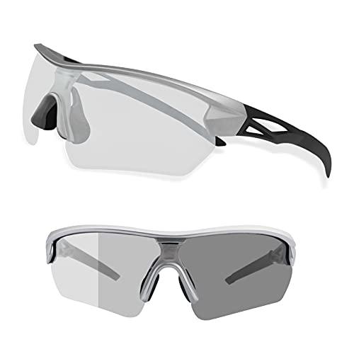 LSEEKA Gafas de Ciclismo Fotocromáticas con Gafas de Sol Deportivas Mujeres Hombres con Protección UV400 Running Transparente MTB Accesorios de Bicicleta