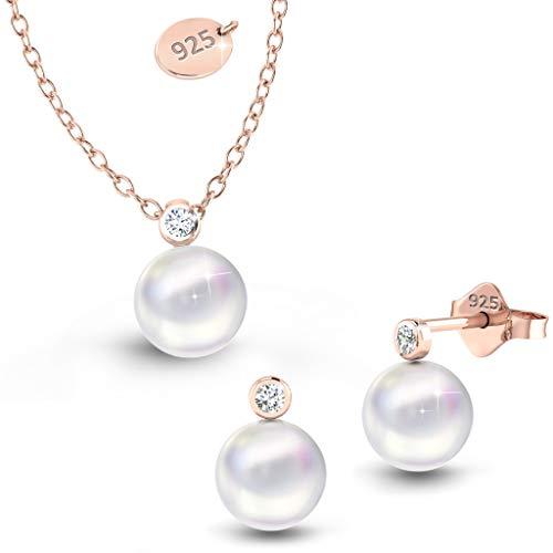Schmuckset Rosegold Swarovksi Perlen Rose Gold Ohrringe + Kette Damen Mädchen Geschenk Geburtstag