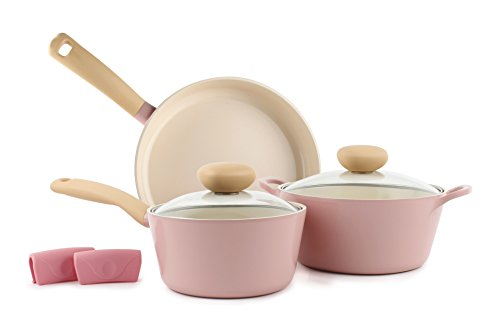 Neoflam Retro 5pc Ceramic Nonstick Cookware Set, PFOA Free Pots and Pans with Integrated Steam...