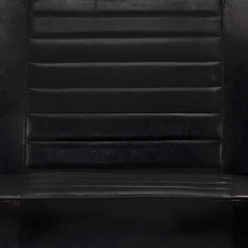 vidaXL Sofa 2-Sitzer mit Armlehnen Zweisitzer Polstersofa Loungesofa Ledersofa Lounge Designersofa Wohnzimmer Sitzmöbel Schwarz Echtleder Eisen