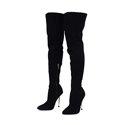 Cape Robbin Holdtight Faux Suede Thigh High Over The Knee Boots, Pointed Toe Stiletto Heel, Fashion Dress Boots for Women - Black Size 9