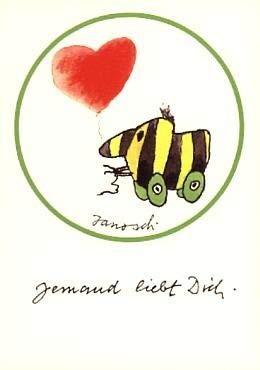 Janosch Stickerpostkarte Jemand liebt Dich